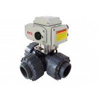 China Compact 3 Way Electric Actuated ISO5211 PVC Ball Valve on sale