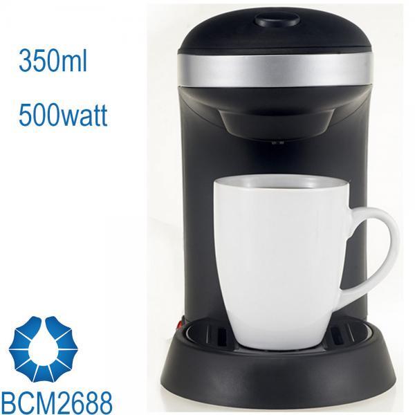 One Cup Drip Coffee Maker stream line design in black BCN2688 - 106726866