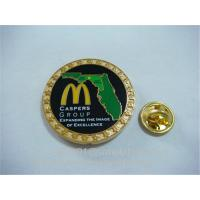 Buy cheap Branding logo painted lapel pins with butterfly clutch, gold paint lapel pins, product