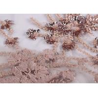 China Embroidery Beaded Dress Mesh Lace Fabric 100% Polyester With Free Sample on sale