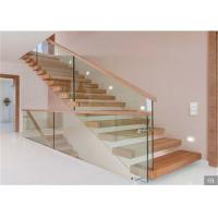 Buy cheap Hot Sale Stainless Steel Straight Staircase with Solid Wood Steps/ Glass Tread product