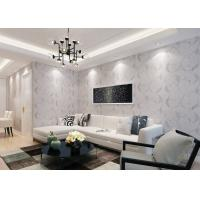Buy cheap Decorative Embossed Vinyl Country Style Wallpaper with Grey Leaf Pattern , CSA Standard product
