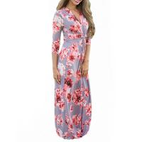 Buy cheap Casual 3 4 Sleeves Summer Floral Maxi Dresses , Petite Length Maxi Dresses For Weddings product