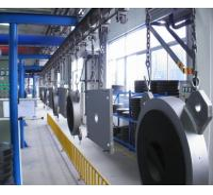 Buy cheap Steel Door Baking Hanging Conveyor Automated Conveyor Systems Adjustable Speed product