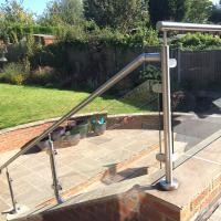 Buy cheap 2'' Pipe Handrail Balcony / Terrace Stainless Steel Glass Railing Designs product