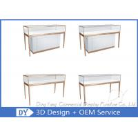 China Matte White Wooden Glass Display Cases For Jewelry And Watch Store on sale