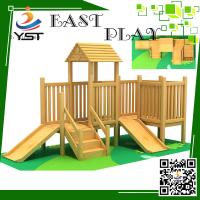 Buy cheap Indoor Wooden Playground Equipment , Childrens Wooden Playhouse With Slide product
