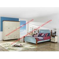 Buy cheap Mediterranean Leisure Style bedroom furniture in blue sky painting wood bed in European winery modelling product
