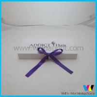 China Mini Paper Hair Extensions Packaging Box Purple Ribbon for Packing Hair on sale