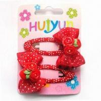 Buy cheap Hair BP Clips, Customized Designs are Accepted, Suitable for Children, Made of Metal and Ribbon product