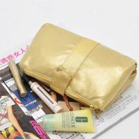 Buy cheap Portable Toiletry PU Leather Folding Cosmetic Bag  Golden Color For Travel product
