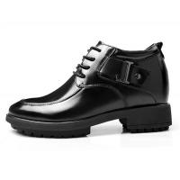 Black Oxfords Leather Shoes Men's Elevator Height Increased Shoes Taller 3.15 Inches