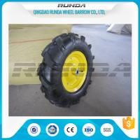 Buy cheap 16inches Heavy Duty Rubber Wheels Yellow Color Lug Pattern Enamel Finish 6PR product