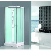 Buy cheap Square Bathroom All Glass Shower Enclosures PVC Middle Panel White Back Painting product