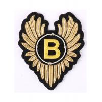 Wings Shape Embroidered Emblems Gold Embroidered Letter Patches With Alphabet B