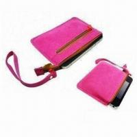 Buy cheap Mobile Phone Bag with Zipper, Soft Suede Material and String to Carry product