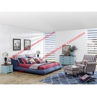 Buy cheap Blue and white strip Upholstered furniture bedding ship type headboard with pillow and fabric surronding bedstead product
