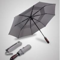 Double Canopy Layer Automatic Open And Close Compact UmbrellaVented Grey Color