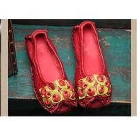 Buy cheap Red Fancy Slippers womens leather loafers With Lovely flowers , slip on loafers product
