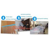 Buy cheap pre-taped paintable car masking film,auto paint solution HDPE masking film,1500*2300mm Masking Film Tape Roll Self Adhes product