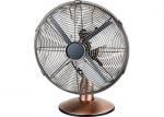 12 Inch 45W Electric Oscillating Fan Retro Room 4 Metal Blades Brushed Nickel