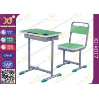 Buy cheap Height Adjustable Wooden Top Student Table And Chair Set With Book Hook from wholesalers