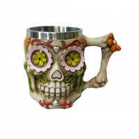 Buy cheap 400ml Skull head polyresin double side stainless steel mug product