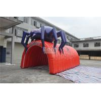 Buy cheap Waterproof PVC Red Cool Spider Design Giant Inflatable Football Tunnel , Inflatable Tunnel Tent product
