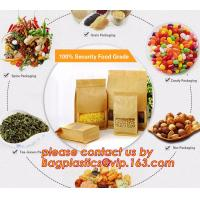 Buy cheap 100% Food Grade Customized Recyclable Eco Zipper Eight Side Sealed Biodegradable Paper Bag For Food Packing, Brown kraft product