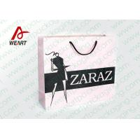 Buy cheap Pretty Custom Paper Shopping Bags With LOGO And Black PP Rope product