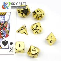 China Custom RPG Table Game Metal Side Colorful 7 Pieces D4 D6 D8 D10 D12 D20 5mm Mini DND Polyhedral Dice Set on sale