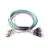 Buy cheap Pre Terminated OM3 Break Out FC To ST Ribbon 6 Fiber Optic Patch Cord Auqa Jacket product
