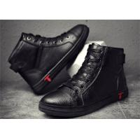 Buy cheap Fashionable Mens Skateboard Shoes , Cow Leather High Top Skate Shoes Flat Heel product
