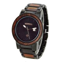 Buy cheap Luxury Metal and Red Sandalwood Wristwatch / Men Wooden Watches For Festival Gift product