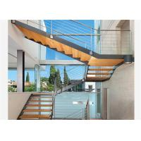 China Straight Mild Steel Glass Modern Floating Staircase Prefab Steel Wood Straight Staircase on sale