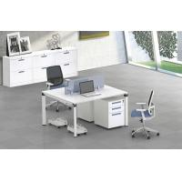 Buy cheap Five angle steel tube 2 person  staff office table with wooden top  face to face product