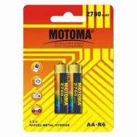 China AA Size NiMH Batteries with 2,700mAh Capacity and 1000 Cycle Times, for Digital Products on sale
