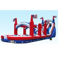 China Outdoor 18Foot Hignt Inflatable Water Slides All American Flag With Slip Slide wholesale