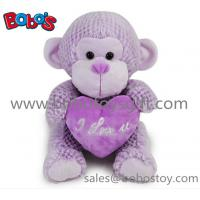 Buy cheap China Factory Made Super Cute Plush Purple Monkey Toy With Purple Heart Pillow product
