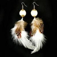 Buy cheap Drop Earrings, Made of Metal, Feather and Plastic, Nickel-free, Fashionable Design product
