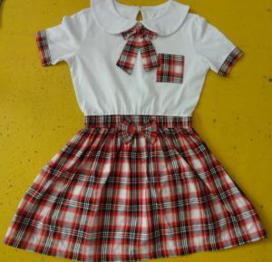 Buy cheap 100% Cotton Checked Girls School Uniform Dresses , Summer Kids Uniform Dress product