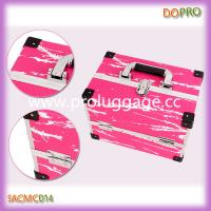 Pink snake skin pu surface aluminum beauty train case (SACMC014)