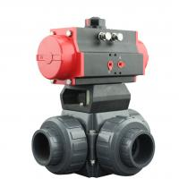 Quality PVC Plastic Actuator Pneumatic Ball Valve 2 Way / 3 Way With L Type T Type for sale