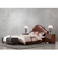 Buy cheap American leisure style Split Leather Upholstered Headboard Kind Bed with Wooden Furniture for Villa house Bedroom used product