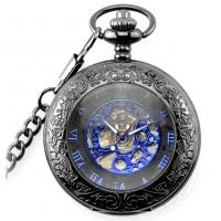 Buy cheap Pocket watch with automatic movement , Retro Vintage Smooth Black Quartz Pocket Watch With Chain product