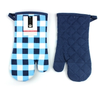 Buy cheap Blue Check Print Canvas Poly Cotton Cheap Custom Microwave Glove Oven Mitt product