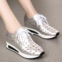 Quality Fashion Casual Height Increasing Shoes Hollow Elevator Sneakers Lace up for WomenTaller 2.56 Inches for sale