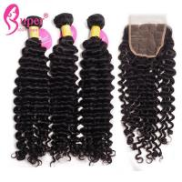 China Deep Wave 3 Bundles Of Brazilian Hair Remy Human Wet Wavy Hair Weave 100% Virgin on sale