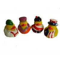 Phthalate Free Vinyl Small Yellow Rubber Ducks With Nation Flag Pattern