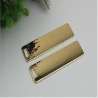 Buy cheap Super quality custom handbag hardware gold 70 mm length rectangle shape metal logo plate without letters product
